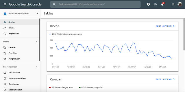 Dashboard Google Search Console - hostze.net