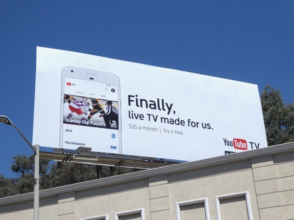 YouTube TV live billboard