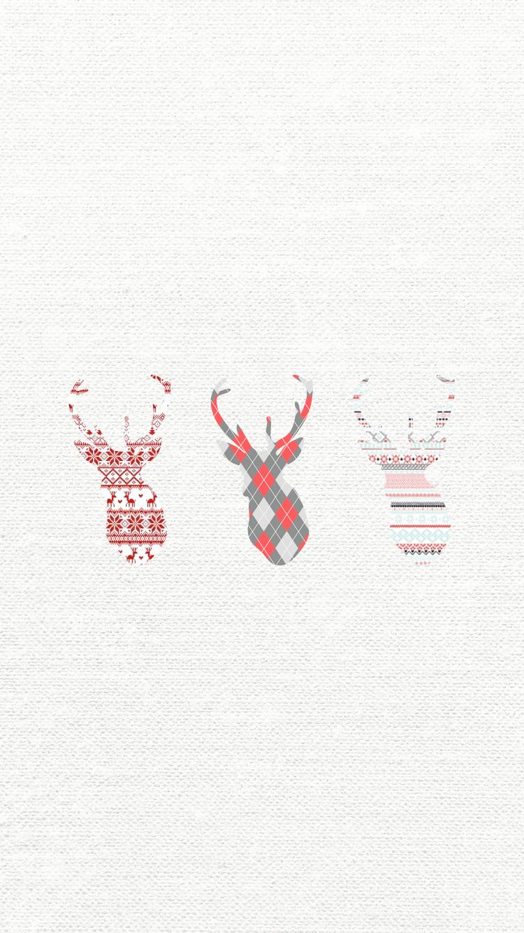 トナカイ 北欧風 お洒落なクリスマスのスマホ壁紙 冬 Iphone