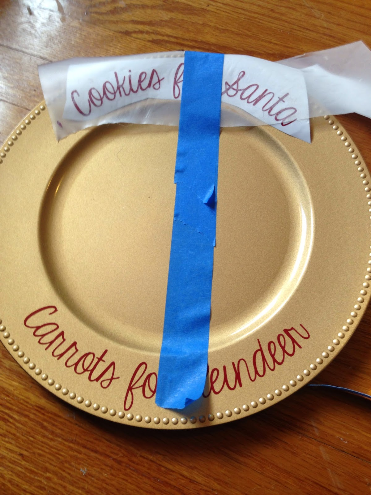 Charger plate, decorate, vinyl, Silhouette, Silhouette tutorial, Silhouette Studio, painter's tape