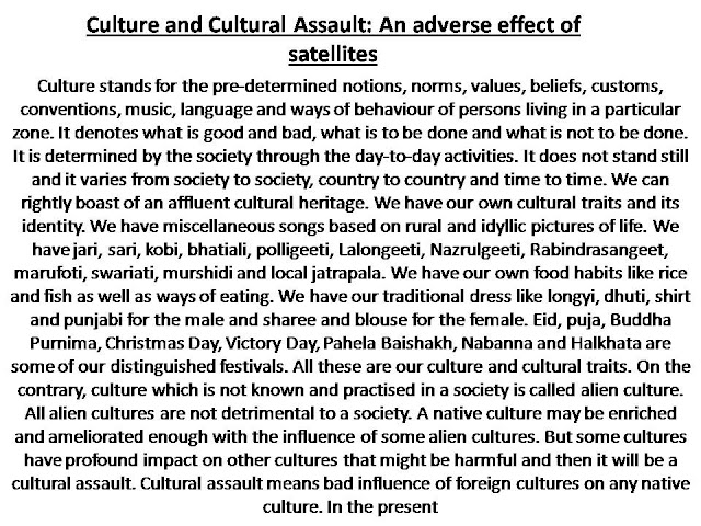 Culture and Cultural Assault: An adverse effect of satellites