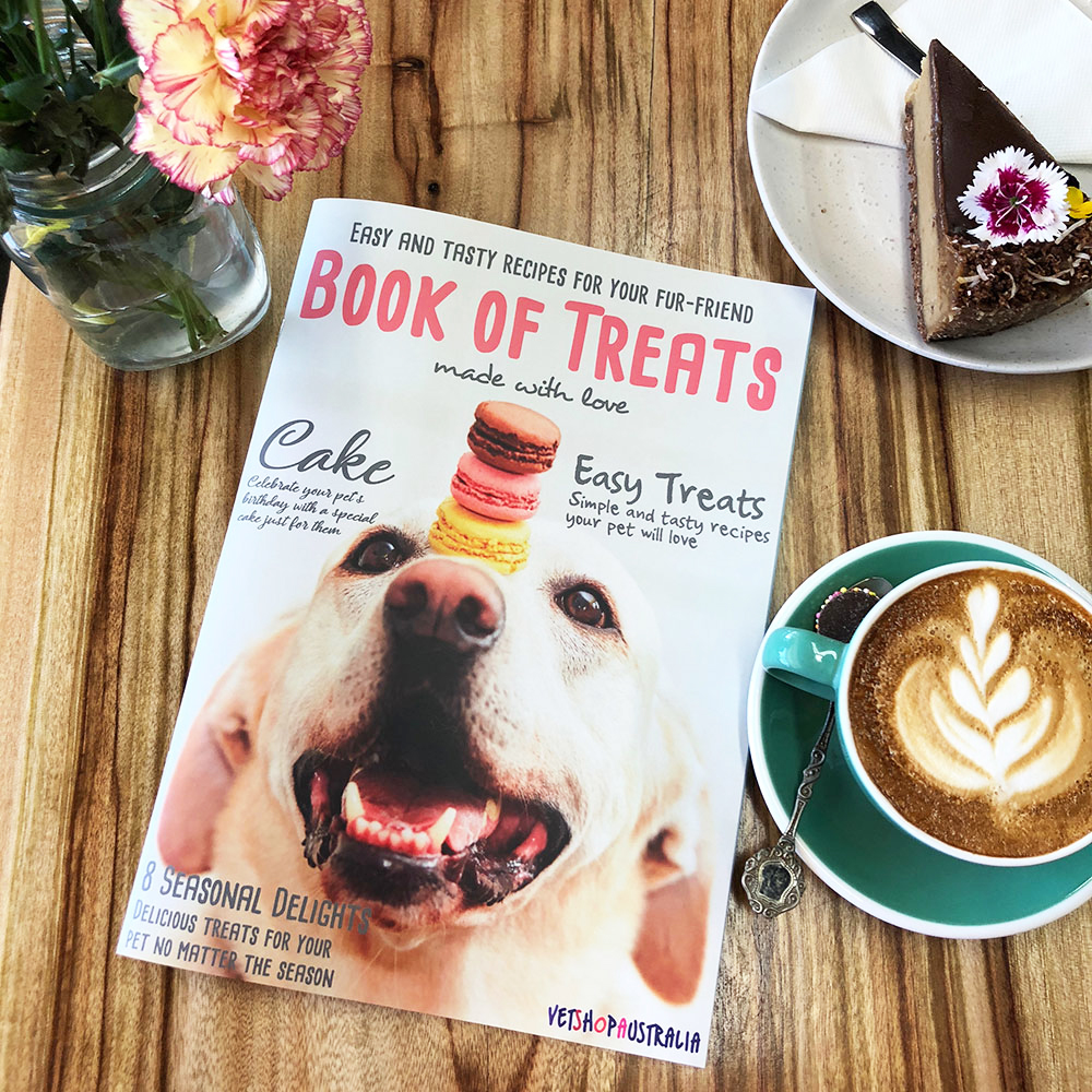 Book of Treats booklet by VetShopAustralia with easy tasty recipes for dogs and cats