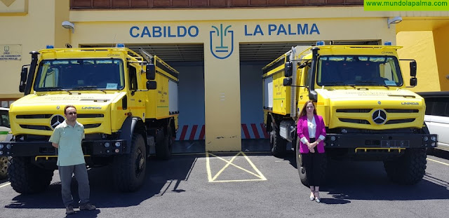 Medio Ambiente incorpora dos nuevos vehículos autobomba para la lucha contra los incendios forestales en La Palma
