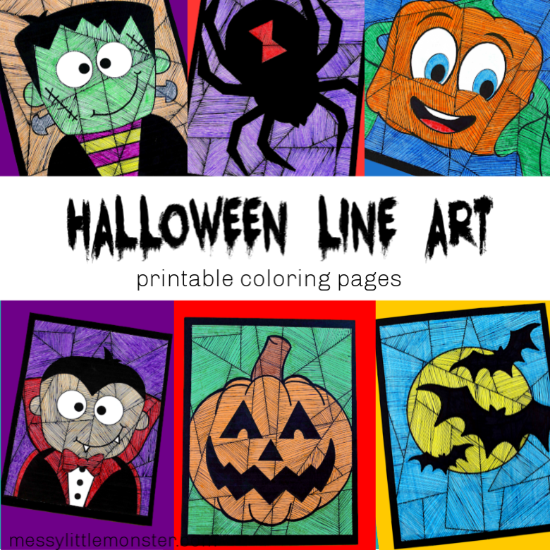Halloween line art colouring pages