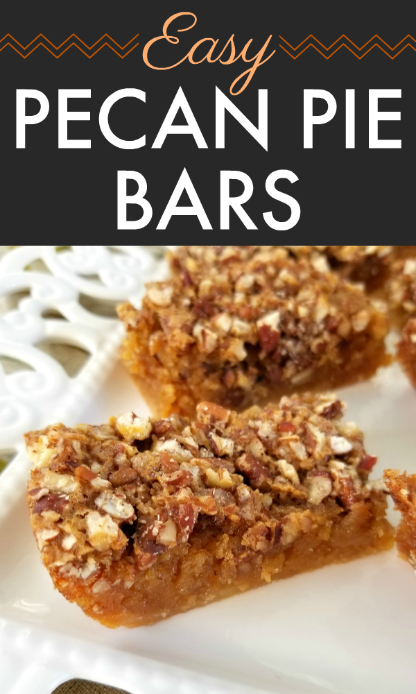 Pecan Pie Bars! All the fabulous flavor of pecan pie in a chewy, gooey bar recipe made easy with a cake mix base.