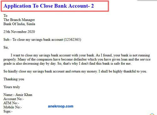 application to close bank account