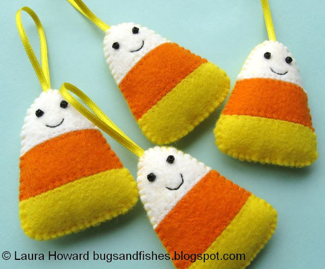 Cute felt candy corn ornaments