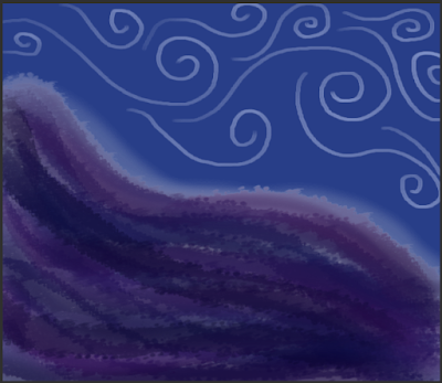ID: dark blue and purple textured like water or cloud cover the bottom left of the image while silver swirls against blue in the top right half.