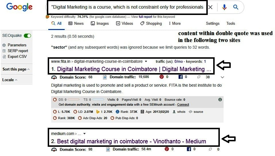 Check plagiarism for particular page content on google