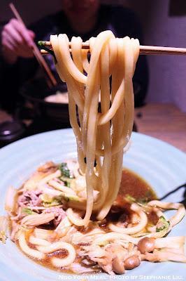 Wagyu Mushroom Sukiyaki Udon with Wagyu Beef, Shimeji, Oyster, Enoki Mushroom, Vegetable in Sweet Sukiyaki Broth at TsuruTonTan in New York City