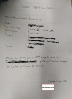Surat Pernyataan Kehilangan KTP