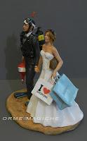 statuette sposi milano sposa shopping sposo sub con bombola orme magiche