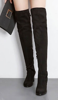 Sepatu high heels model chunky booties untuk wanita berkaki besar