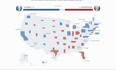 American electoral college votes superimposed on geographic map of United States