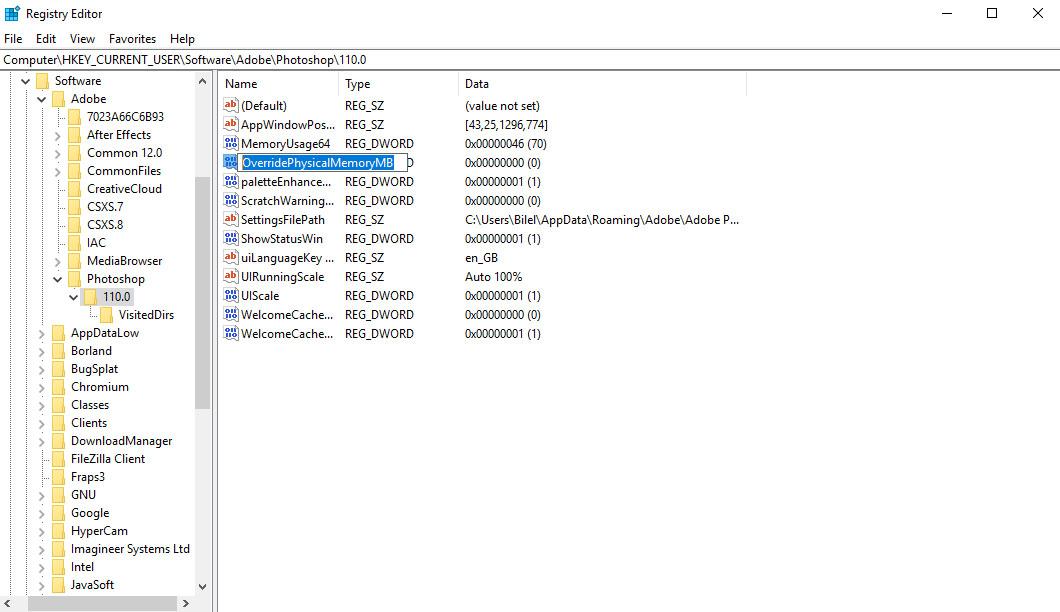 windows registry window new value OverridePhysicalMemoryMB