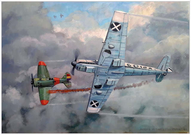Óleo combate Bf-109 contra Rata