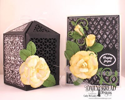 Our Daily Bread Designs Stamp Set: Lovely Flower, Custom Dies: Luminous Lantern, Roses, Rose Leaves, Fancy Foliage, Pierced Rectangles, Lattice Background, Paper Collection:Chalkboard