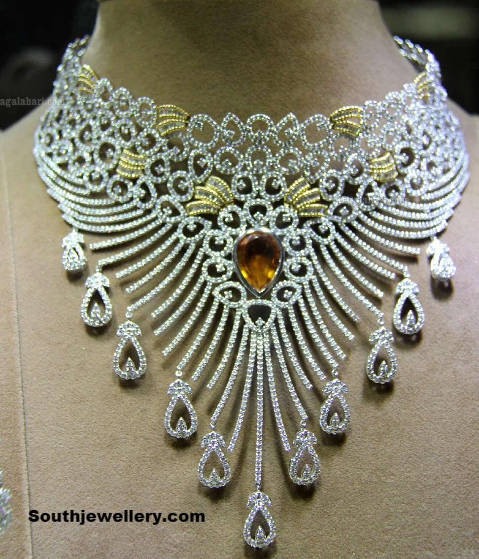 Diamonds Jewellery: Bridal Diamond Necklace Collection At Gehena Jewellery And