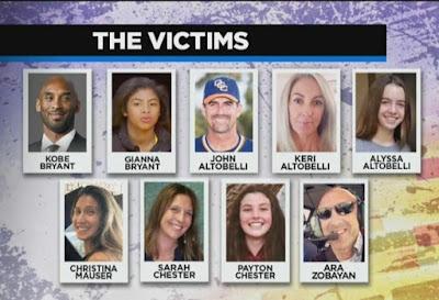 """LAMENTABLE TRAGEDIA DE FAMILIAS: Ellos son las 9 víctimas del accidente en el helicóptero de Kobe. """"El Internacional"""""""