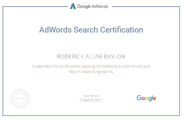 Google Adwords Certified Expert - Roderick Allan Baylon