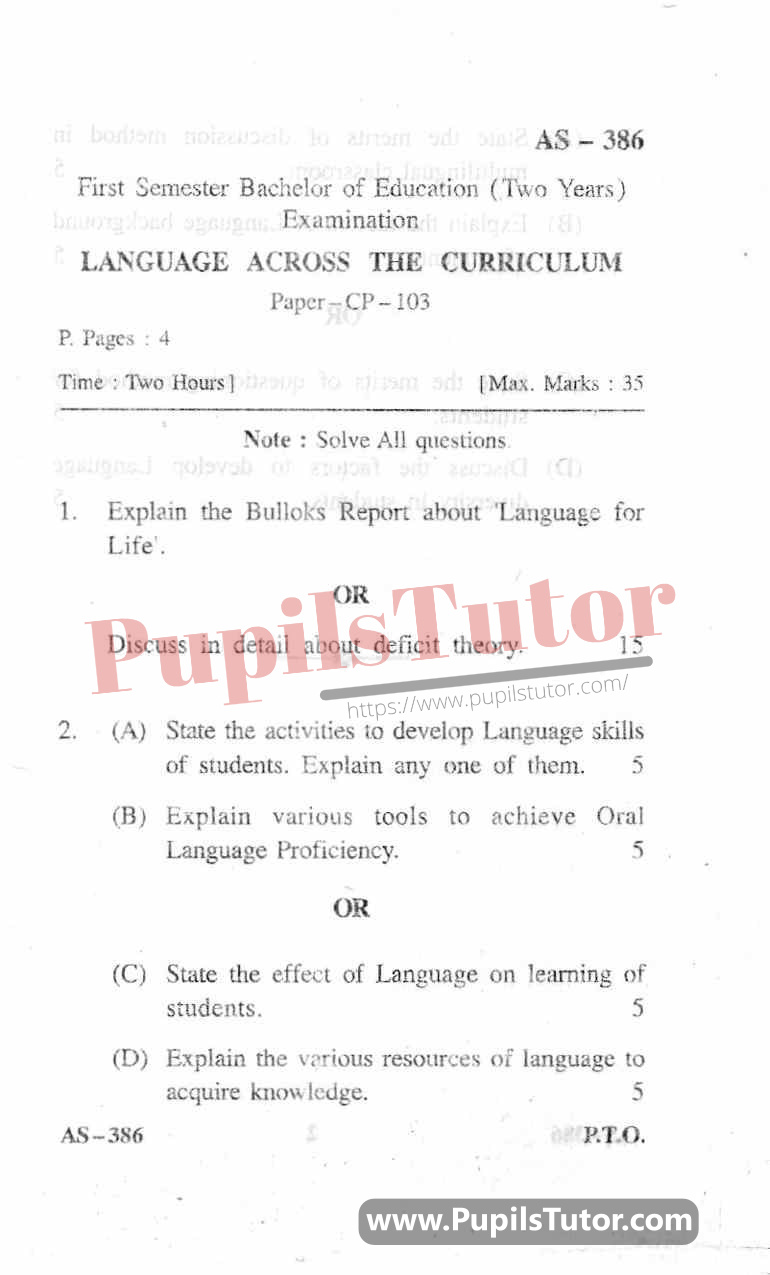 Language Across The Curriculum Question Paper In English