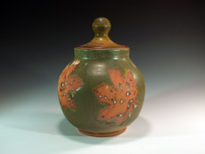 Covered Maple Leaf Jar by Lori Buff