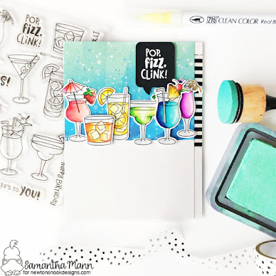 Pop, Fizz, Clink Card by Samantha Mann for Newton's Nook Designs, Cocktails, Drinks, Distress Inks, Distress Oxide, Stencil, Birthday, Celebrate, Cheers, Card Making, Paper Crafting, #newtonsnook #newtonsnookdesigns #distressink #distressoxideink #cheers #cocktails #cardmaking