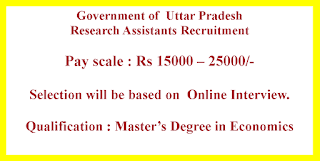 Research Assistants Recruitment - Government of  Uttar Pradesh
