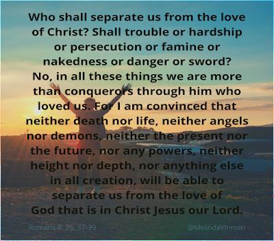 Meme with Romans 8:35, 37-39