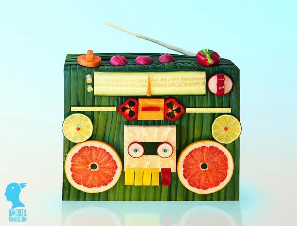 Grabadora con vegetales