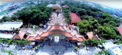 wide drone shoot of amusement park in vietnam