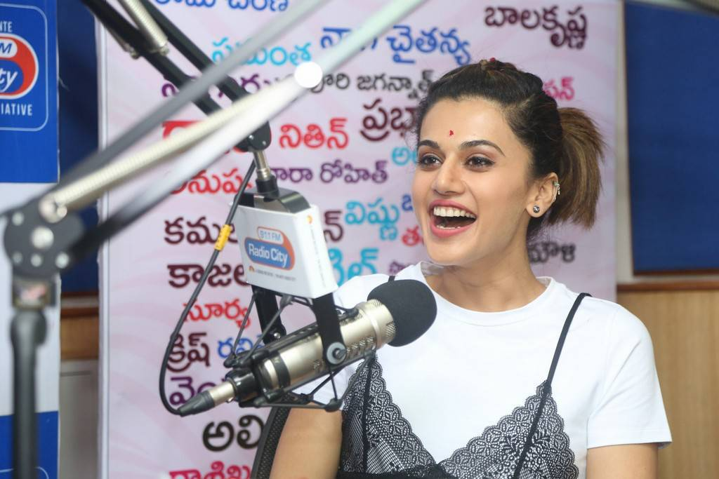 Taapsee At Radio City For Anando Brahma Movie Promotions Stills