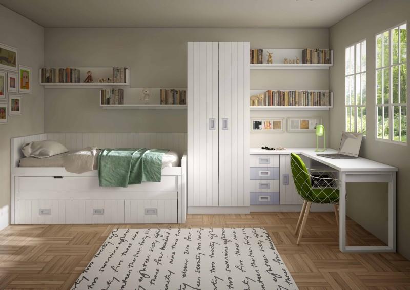 La zona de estudio en este dormitorio se ha acoplado al for Habitaciones juveniles compactas