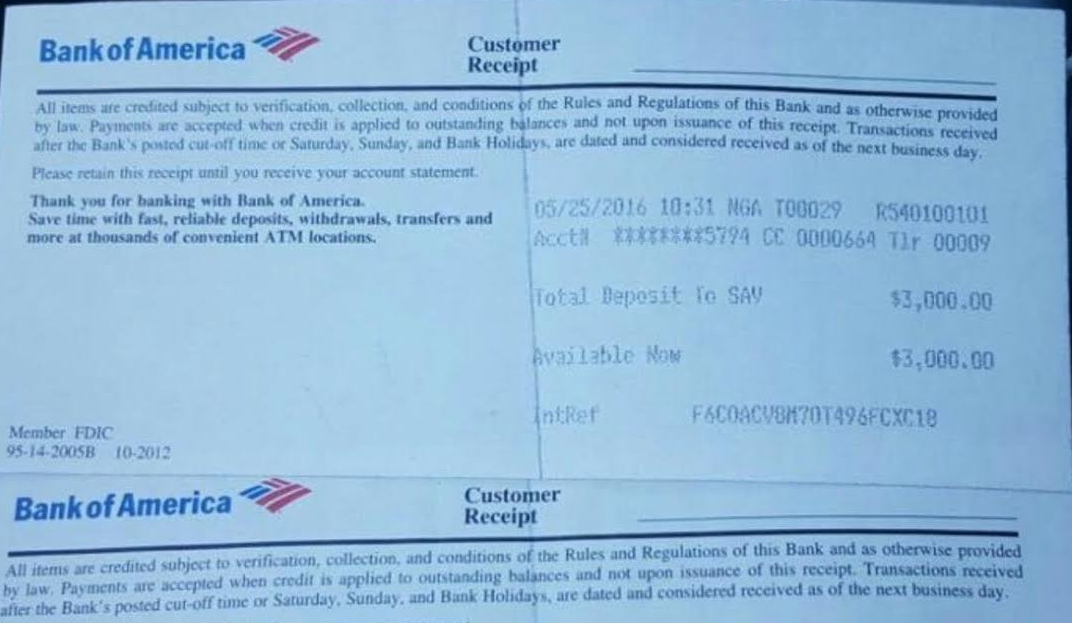bank of america receipt