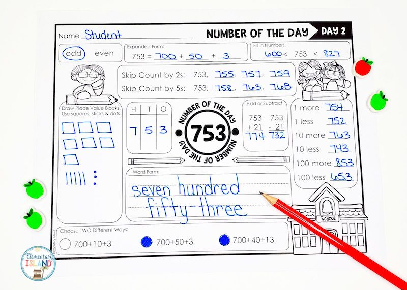 A number of the day worksheet that is consistent for students to use during distance learning.