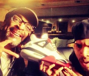 8f19ee0f173097 Here is a real crazy photo of Chris Brown   Spike Lee posing with a pair of Air  Jordan Mars 4 Sneakers with Spike Cheesing next to the image of him on ...