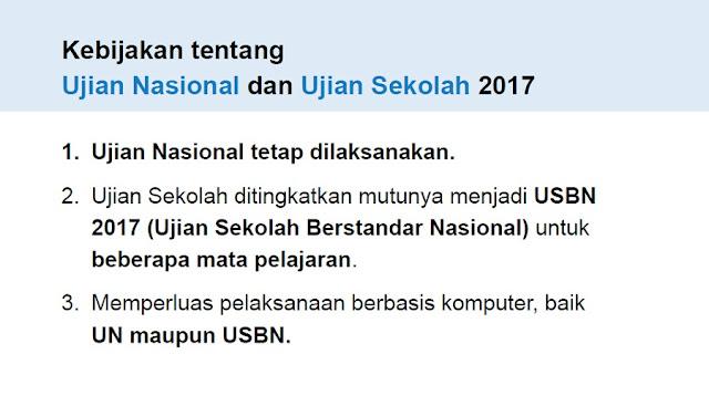 Kebijakan Ujian Nasional (UN) dan Ujian Sekolah (US) 2017