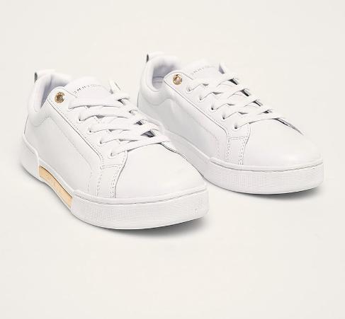 Tommy Hilfiger - Sneakers de piele naturala allbi de femei cu accesoriu auriu