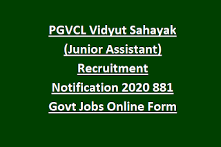PGVCL Vidyut Sahayak (Junior Assistant) Recruitment Notification 2020 881 Govt Jobs Online Form