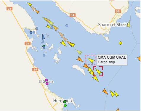 خريطة للسفن بخليج السويس