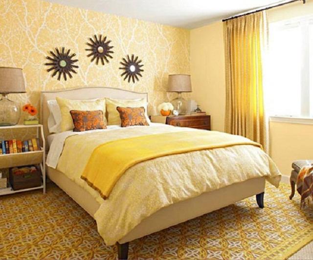 Mẫu phòng ngủ sử dụng giấy dán tường đẹp.