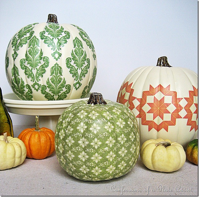 Decoupaged Pumpkins from Confessions of a Plate Addict  |  25 Creative DIY Pumpkins at www.andersonandgrant.com