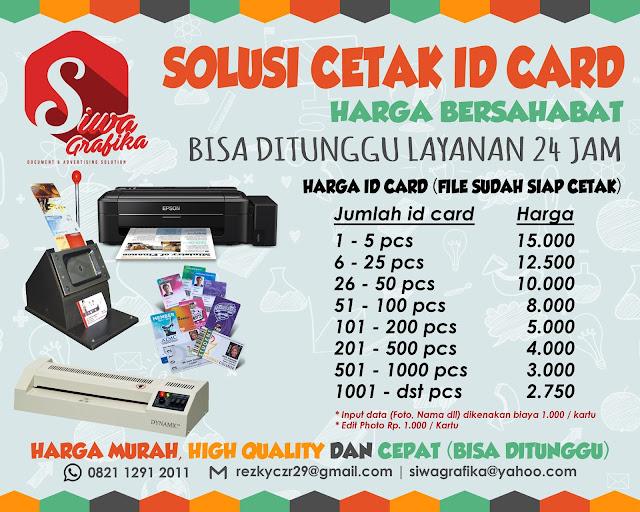 Cetak Id Card Murah Online di Rawamangun Jakarta Timur