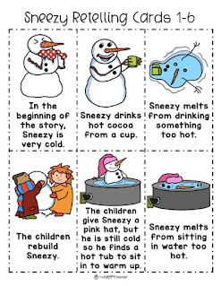 Sneezy the Snowman retelling cards