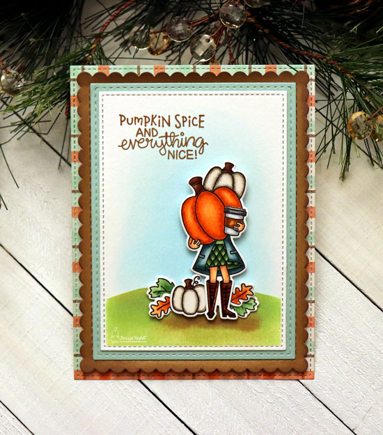 Pumpkin Spice Coffee Card by Larissa Heskett | Pumpkin Latte Stamp Set and Hills & Grass Stencil by Newton's Nook Designs #newtonsnook #handmade