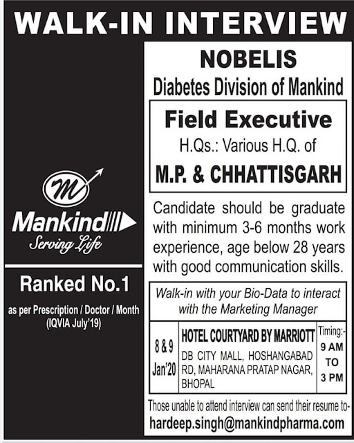 Mankind Pharma - Walk in interview for Medical Representative on 9th Jan 2020