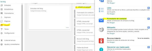 añadir formulario de contacto en blogger