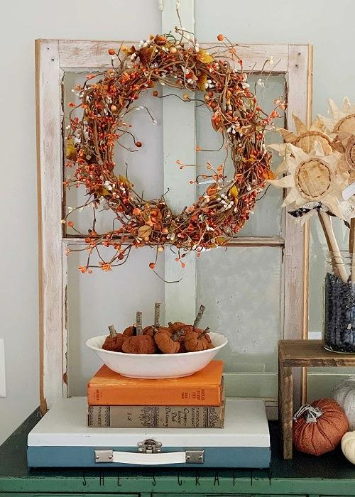 Fall Home Decor - wreath, books, cinnamon pumpkins