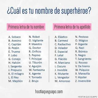 Encuentra tu nombre de superhéroe