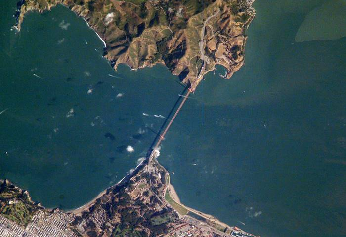golden gate bridge from space